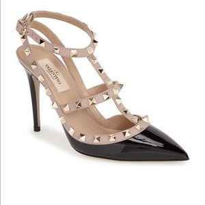 Valentino black/blush patent leather